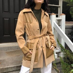 SOLD Vintage leather colorblock coat